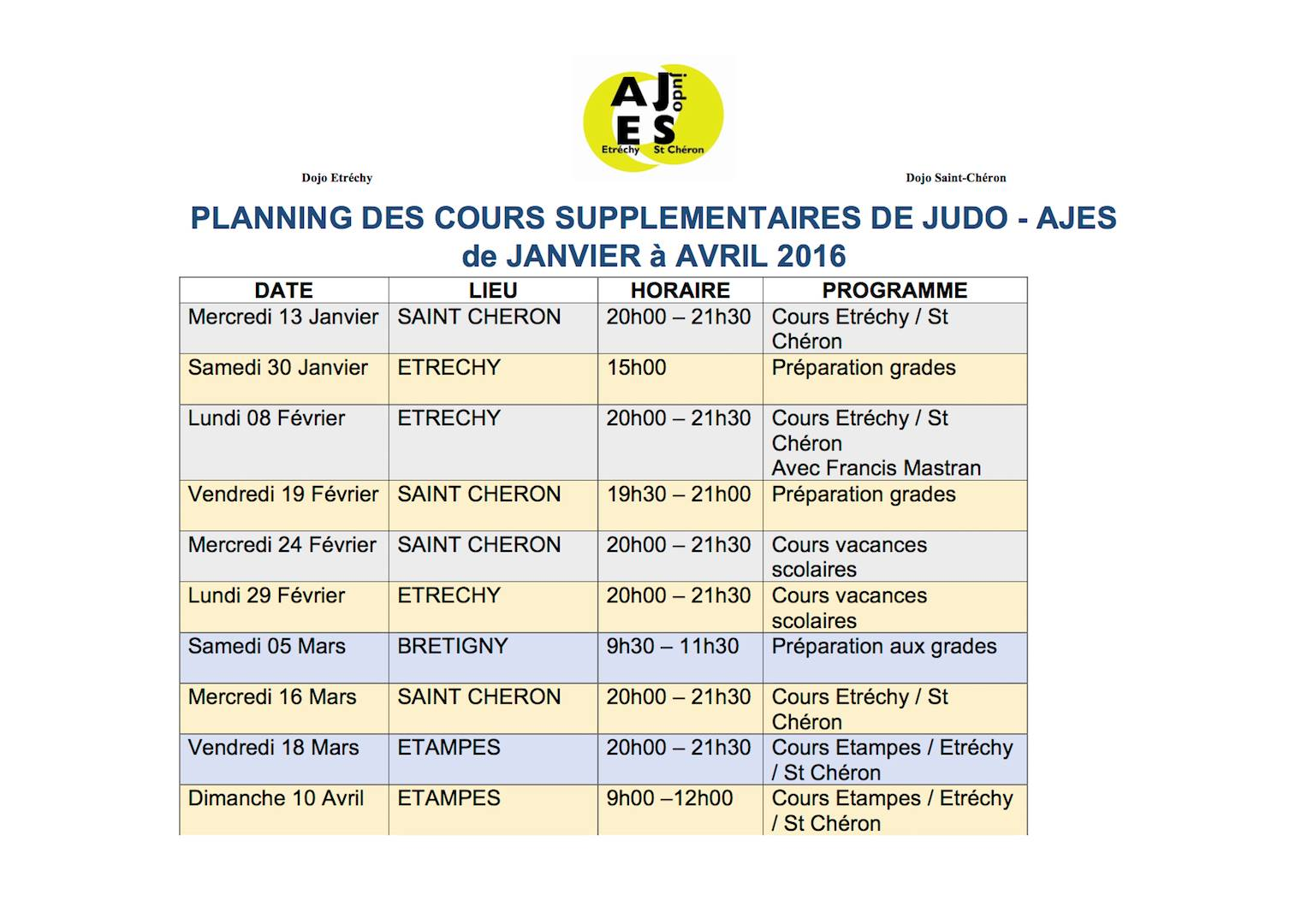 Planning de janvier à avril 2016